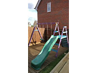 Wooden Climbing Frame - slide 2x swings great condition.