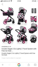 Cosatto 3 in 1 travel system - baby girl