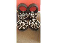 """BMW 19"""" M3 ALLOYS & TYRES E46 etc original FREE 4 x tyres good condition"""