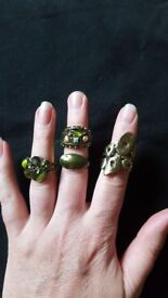 Gorgeous gold and green stone ladies dress rings x4 by Monsoon. £2 for lot