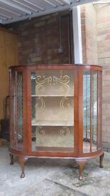 Antique 1920's / Vintage bow fronted small Queen Anne China / Display Cabinet
