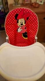 Disney Miney Mouse Childs Highchair