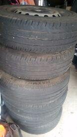 Four Vivaro wheels with tyres