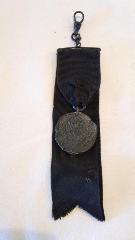 Antique 1900s YMCA Medal on a Black Ribbon - MIND SPIRIT BODY - FREE SHIPPING
