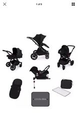 Ickle bubba stomp V3 all black travel system with isofix