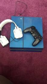 PS4 with headset and GTA V & Battlefield 1