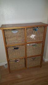 Wicker basket storage drawers unit