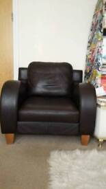 *now sold* Deco style brown leather armchair