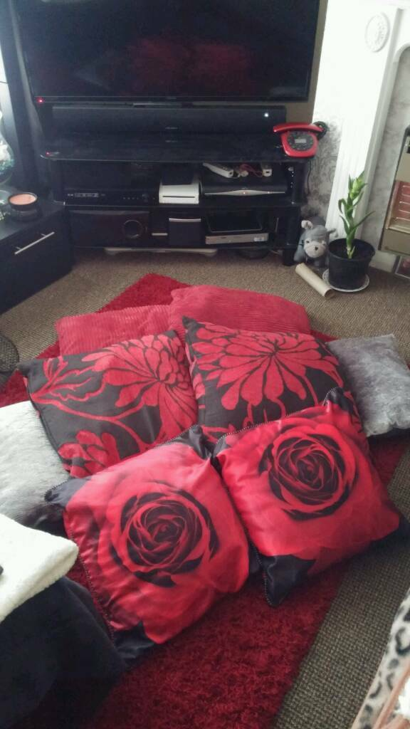 6 red and 2 grey cushions