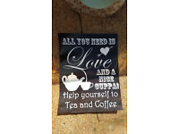 1 x SMALL VINTAGE TEA & COFFEE SIGN (printed on gloss paper) perfect for weddings or afternoon tea