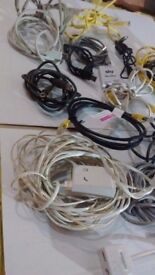 Job lot of PC / Network cables and routers etc.