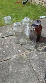 Glass demijohns (x5)