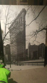 2 large pictures of greyscale New York (no frames)