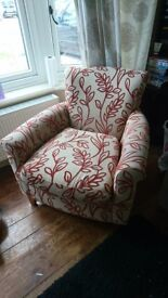 Armchair - cream, with red leaf pattern