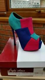 Women's Triple colour High Heels Shoes Size UK 2.5 European 35 Brand New