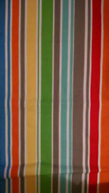 Dunelm kids stripey blackout curtains, curtain rod, matching fitted single sheet and pillowcase