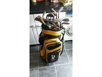 17 golf clubs and golf bag