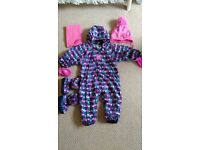 Jojo Maman Bebe snowsuit + booties + mittens set + matching hat and scarf 9-12 mths