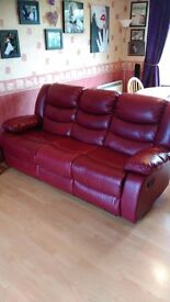 1 x 3 seat double leather recliner
