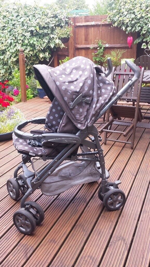 Mamas and Papas polka dot pliko pramette with accessories and a car seat