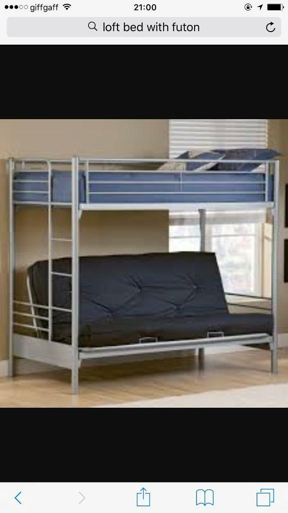 Metal Bunk Beds Single On Top And Single Double Or Futon On
