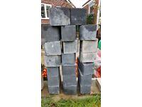 Dark grey block paving kerb stones,
