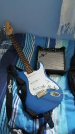 Gear4music 6 string electric guitar with amp