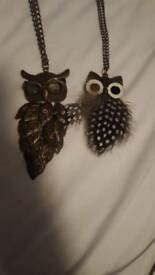 Long chain owl necklace