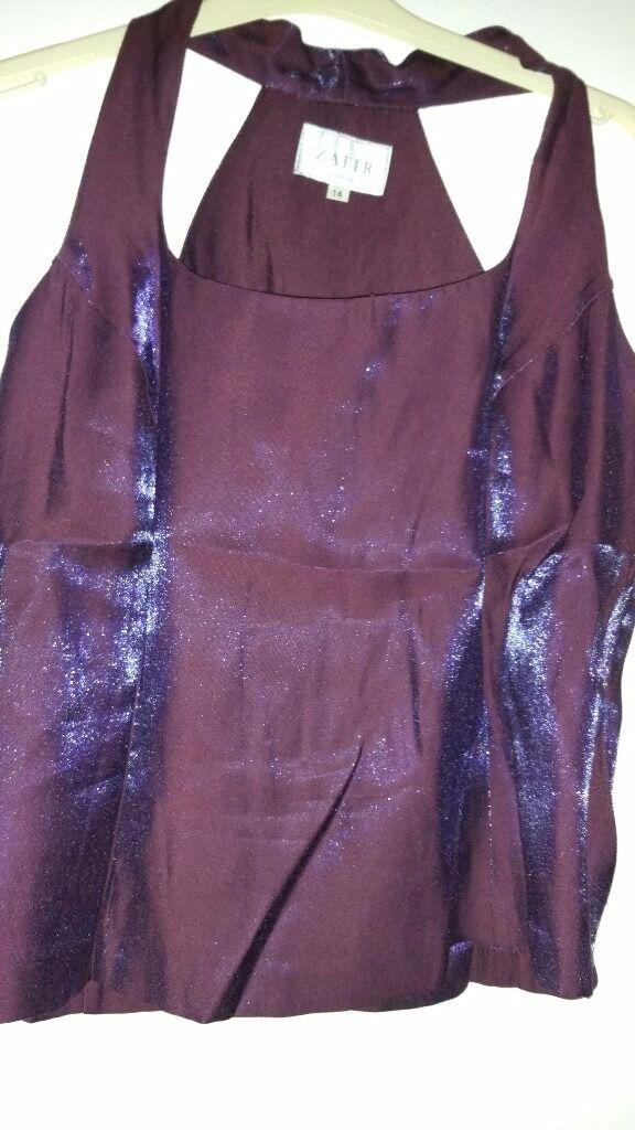 Ladies 3 piece Trousers Suit. Colour Purple. Size 14.