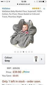 Wallaboo fleur baby wrap/ car seat cosy