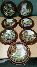 7 Royal Worcester romance of the waterways plates
