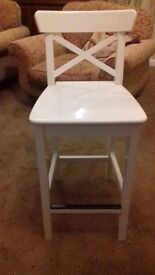 Solid wood tall kitchen stool with backrest