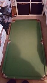 Pool table, comes with balls and cues, strong and well made, can fold flat £20