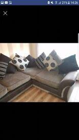 Black & grey dfs corner sofa