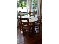 Unusual French extending dining table made from sleepers