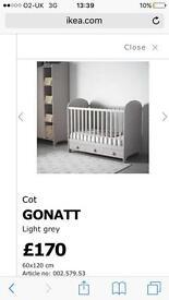 Beautiful Ikea gonatt light grey cot