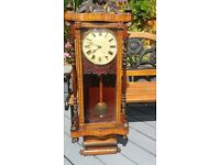 "LARGE BEAUTIFULLY INLAID "" JEROME & Co "" GRAND SUPERIOR 8 DAY ANGLO AMERICAN, LARGE WALL CLOCK"