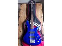 Schecter P Diamond Series, Deluxe 4 Active Bass - Electric Blue - recent Full Set Up & New Strings