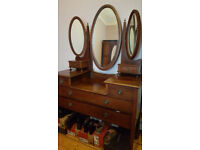 Antique bedroom suite, Wardrobe, Dressing table & Chest of drawers, circa 1900