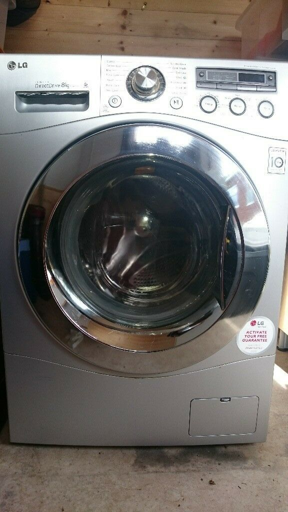 LG washing machine in silver