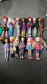 Monster high dolls/Moxie girl dolls and bratz dolls