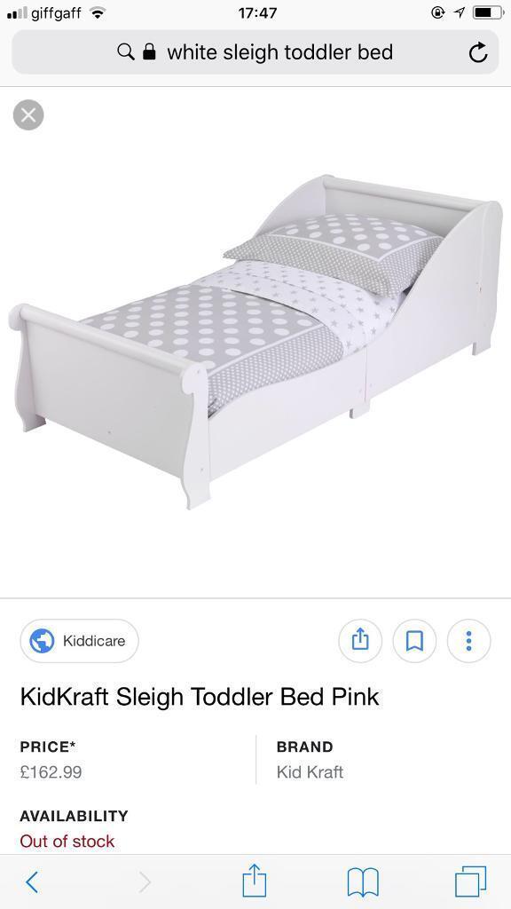 Kidkraft White Toddler Sleigh Bed Frame Like Ikea Good Condition
