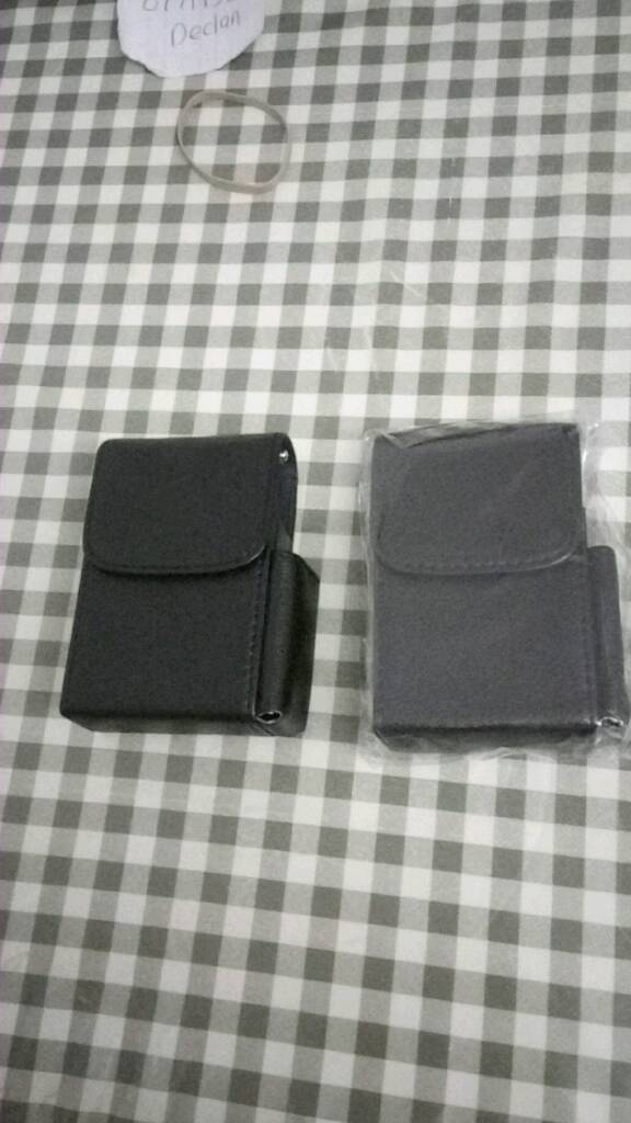 Leather cigarette and lighter pouches