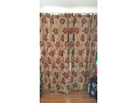 Debenhams Long Floral Curtains Red and Brown