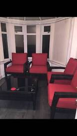 Glass Top Table with 4 Padded Chairs Garden Set