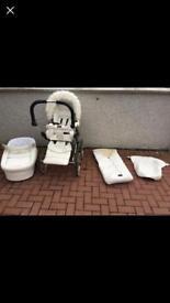 Emmaljunga Mondial De Luxe White Leatherette Pram/Buggy