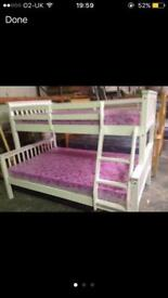 White or navy triple bunk bed sale