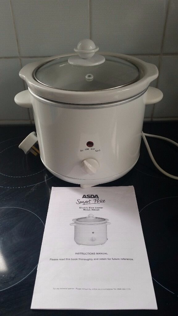 Small White Asda Slow Cooker 18l Capacity With Instructions In