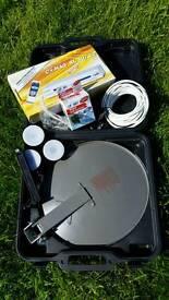 Potable satallite dish and receiver