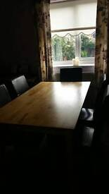 Pine table & 8 black leather chairs